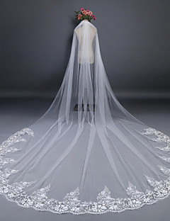 One-tier Cut Edge Lace Applique Edge Wedding Veil Cathedral Veils With Applique Lace Tulle