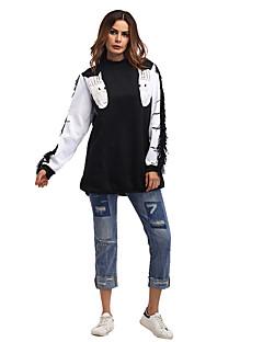 tanie Damskie bluzy z kapturem-Damskie Casual / Moda miejska Spodnie - Wzór 3D Czarny / Wiosna / Jesień / Zima / Święto / Długie