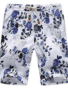 Herre Enkel Mikroelastisk Shorts Bukser,Løstsittende Mellomhøyt liv Jacquardvevnad Blomstret