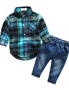 billige Tøjsæt til drenge-Drenge Tøjsæt Ternet, Bomuld Forår Efterår Langærmet Ternet Blå