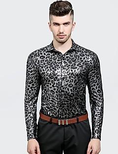 billige Herremote og klær-Bomull Tynn Skjorte Herre - Leopard, Denim Chinoiserie Fest / Langermet