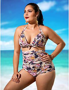 billige Bikinier og damemote 2017-Dame Store størrelser Grime Bikini - Trykt mønster, Høy Midje Blomstret