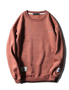 Heren Casual/Dagelijks Sweatshirt Effen Letter Ronde hals Micro-elastisch Polyester Lange mouw Herfst