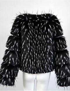 Women's Daily Simple Casual Winter Fall Fur Coat,Solid V Neck Long Sleeve Regular Fox Fur Raccoon Fur