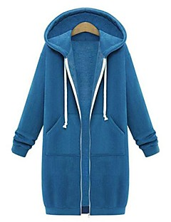 Women's Petite Daily Casual Street chic Hoodie Solid Hooded Micro-elastic Cotton Long Sleeve Spring Fall