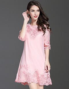 Kadın Dışarı Çıkma Sevimli A Şekilli Elbise Nakışlı,Yarım Kol Yuvarlak Yaka Diz üstü Polyester Sonbahar Normal Bel Mikro-Esnek Orta