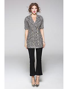 Damen Solide Druck Einfach Lässig/Alltäglich Mantel,Hemdkragen Herbst Kurzarm Kurz Polyester