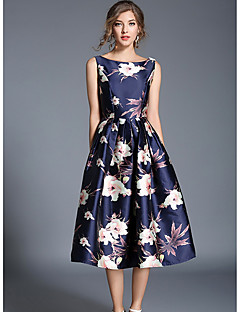 SHE IN SUN Women's Daily Holiday Going out Casual Street chic A Line Swing Dress,Floral Round Neck Midi Sleeveless Polyester All Seasons High Rise