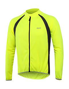 billige Sykkelklær-Arsuxeo Herre Langermet Sykkeljersey - Rød Grønn Blå Lapper Sykkel Jersey Topper, Refleksbånd 100% Polyester / Elastisk