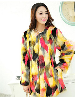Women's Casual/Daily Simple Fall Winter Fur Coat,Color Block Round Neck Long Sleeve Regular Fox Fur