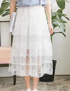Women's Going out Midi Skirts Swing Solid Summer
