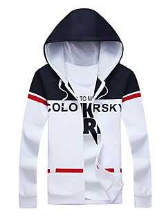 Men's Daily Plus Size Casual Hoodie Print Letter Hooded Micro-elastic Cotton Spandex Long Sleeve Winter Fall