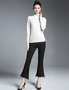 Normal Pullover Fritid/hverdag Vintage Chinoiserie Dame,Ensfarget Trykt mønster Rullekrage Langermet Silke Kashmir Ull Rayon Vinter Medium