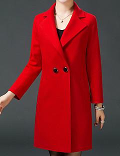 お買い得  レディースコート&トレンチコート-女性用 ワーク コート スタンド ソリッド ウール