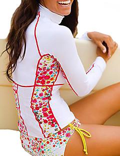 女性用 耐紫外線 伸縮性 ナイロン 潜水服 長袖 トップス-サーフィン ダイビング 秋 夏 ソリッド