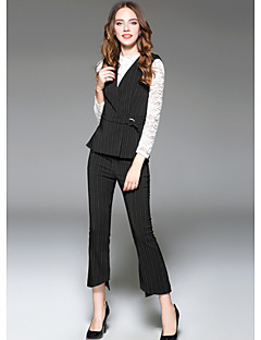 Women's Going out Street chic Striped V Neck Jumpsuits,Slim Sleeveless Fall Polyester
