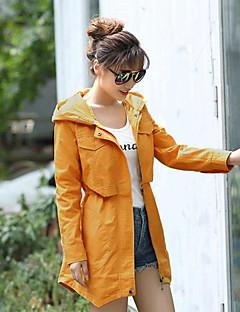 Damen Solide Einfach Ausgehen Lässig/Alltäglich Mantel,Mit Kapuze Frühling Herbst Lange Ärmel Lang Polyester