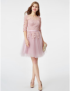Princess Fit & Flare Illusion Neckline Knee Length Tulle Cocktail Party Dress with Appliques Sash / Ribbon by TS Couture®