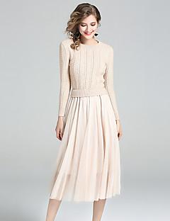 Damen Hülle Kleid-Ausgehen Lässig/Alltäglich Niedlich Solide Rundhalsausschnitt Midi Langarm Polyester Nylon Herbst Mittlere Hüfthöhe
