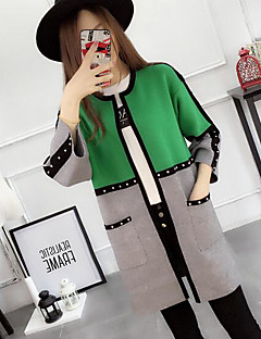 baratos Suéteres de Mulher-Mulheres Manga Longa Longo Carregam - Estampa Colorida, Estampado