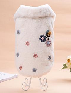 billiga Hundkläder-Katt Hund Tröja Hundkläder Blommig/Botanisk Beige Kaffe Flanelltyg Kostym För husdjur Ledigt/vardag Håller värmen Bröllop Nyår