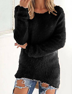 Women's Casual/Daily Regular Pullover,Solid Round Neck Long Sleeves Cashmere Winter Fall Medium Micro-elastic