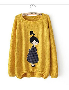 Women's Daily Going out Cute Casual Regular Pullover,Print Round Neck Long Sleeves Wool Fall Medium Micro-elastic