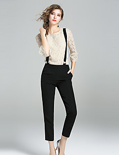 Women's Daily Going out Casual Summer Blouse Pant Suits,Printing Round Neck ¾ Sleeve Cotton Polyester Nylon Inelastic
