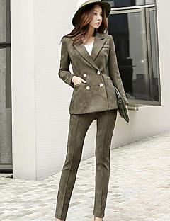 Damen Solide Einfach Retro Arbeit Anzug,Hemdkragen Frühling Herbst Lange Ärmel Standard Polyester Elasthan