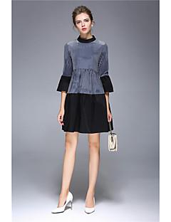 Kadın Günlük/Sade Kılıf Elbise Solid Desen,3/4 Kol Yuvarlak Yaka Diz-boyu Naylon Splandeks Sonbahar Normal Bel Mikro-Esnek Orta