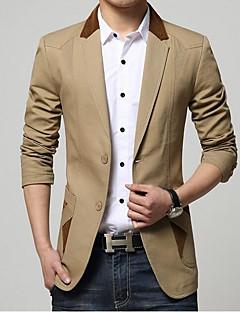 billige -Bomull Polyester Normal Langermet,Skjortekrage Blazer Ensfarget Vår Høst Enkel Fritid/hverdag Herre