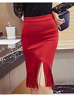 Damen Ausgehen Knielänge Röcke Bodycon einfarbig Sommer