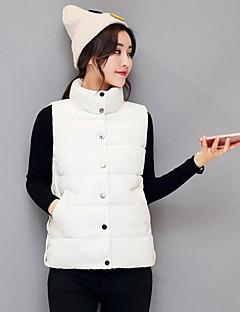 Damen Solide Einfach Lässig/Alltäglich Weste,Ständer Winter Ärmellos Standard Baumwolle