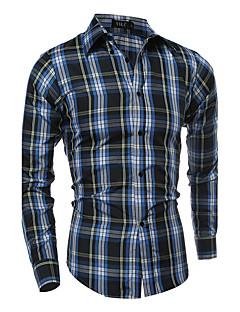 Bomull Polyester Tynn Langermet,Opprett krage Skjorte Stripet Ruter Sommer Enkel Aktiv Fritid/hverdag Plusstørrelser Herre