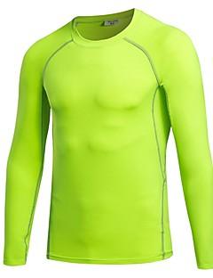 男性用 ベースレイヤー 長袖 通気性 ライトウェイト 伸縮性 Tシャツ トレーナー トップス のために ランニング サイクリング エクササイズ&フィットネス レジャースポーツ バスケットボール ポリエステル85%スパンデックス15% スリム ブラック グレー ライトレッド