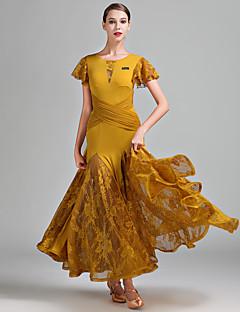 זול הלבשה לריקודים סלוניים-ריקודים סלוניים בגדי ריקוד נשים הופעה תחרה טול משי קרח תחרה שרוול קצר טבעי שמלה