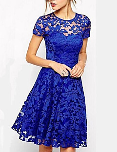 cheap Women's Dresses-Women's Daily Weekend Going out Sophisticated Lace A Line Above Knee Dress, Solid Color Round Neck Short Sleeves Summer