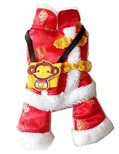 犬 ベスト 犬用ウェア ウォーム 新年 刺繍 コスチューム ペット用