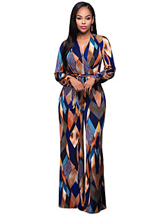 Women's Party Daily Boho Print V Neck Jumpsuits,Wide Leg Long Sleeve Spring Fall Polyester Spandex