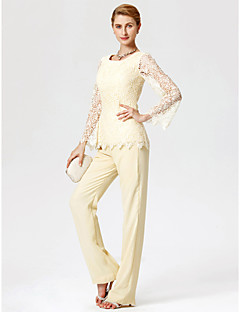 Sheath / Column Pantsuit Jewel Neck Floor Length Chiffon Lace Mother of the Bride Dress with Lace by LAN TING BRIDE®