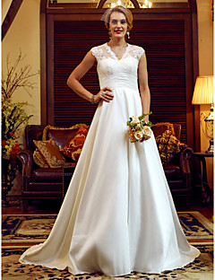 cheap Plus Size Wedding Dresses-A-Line Princess V-neck Court Train Lace Taffeta Wedding Dress with Pearl Detailing Ruching by LAN TING BRIDE®
