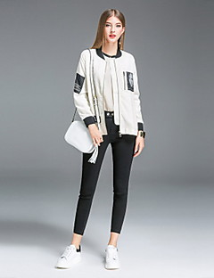 Damen Solide Druck Einfach Ausgehen Lässig/Alltäglich Jacke,Ständer Herbst Lange Ärmel Standard Seide Leinen