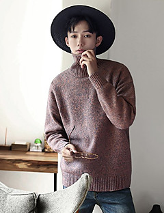baratos Suéteres & Cardigans Masculinos-Homens Manga Longa Lã Pulôver - Sólido / Estampa Colorida Lã / Gola Alta