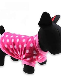 billiga Hundkläder-Katt Hund T-shirt Hundkläder Prickig Röd Polär Ull Kostym För husdjur