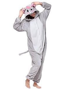 billige Kigurumi-Kigurumi-pysjamas Elefant Onesie-pysjamas Kostume Flannelstoff Grå Cosplay Til Pysjamas med dyremotiv Tegnefilm Halloween Festival /