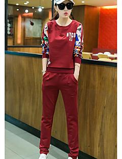 Dames Eenvoudig Zomer T-Shirt Pantalon Kostuums,Casual/Dagelijks Print Ronde hals Lange mouw