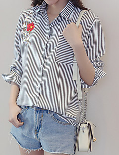 Women's Casual/Daily Simple Shirt,Striped Embroidery Shirt Collar Long Sleeves Cotton