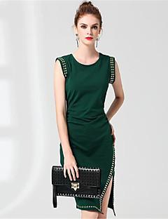 Kadın Günlük/Sade Kılıf Gömlek Elbise Solid Desen,Kolsuz Yuvarlak Yaka Diz-boyu Diz üstü Pamuklu Sonbahar Normal Bel Mikro-Esnek Orta