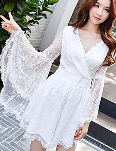 DABUWAWA Women's High Rise Beach Party Casual/Daily Holiday RompersSimple Vintage Sexy Loose Lace Solid Spring Fall