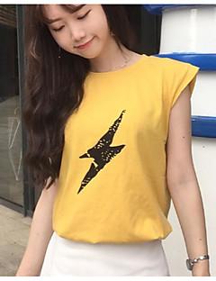 レディース カジュアル/普段着 Tシャツ,シンプル ラウンドネック プリント コットン ノースリーブ